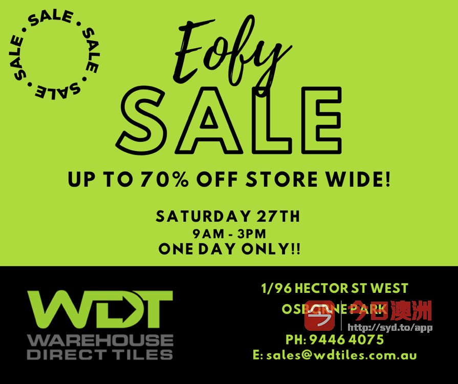 WDTiles Saturday EOFY Sales Up to 70 Store Wide